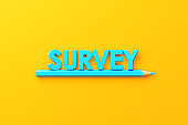 Blue Pencil and Blue Survey Text on Yellow Background