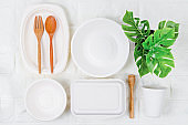Eco-friendly biodegradable paper dishes and glass
