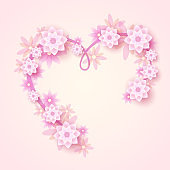 Pink background design with flower and heart
