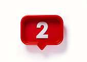 Red Speech Bubble with White Number Two on White background