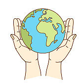 World environment day concept: Human hands holding earth global