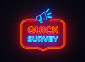Quick Survey Shaped Neon Light On Black Wall