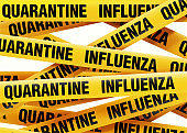 Influenza Quarantine Tape Barrier On White Background