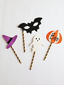 Photo booth colorful props for Halloween party - Witch hat, Ghost, Bat, Pumpkin