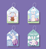 tags with cute female rabbits of easter