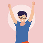 young man happy celebrating with hands up