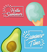summer poster with ice cream and avocado