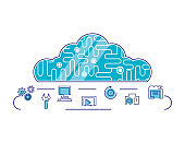 cloud computing network set icons