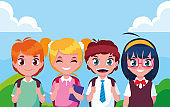 cute little student group avatar character