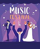 music festival poster with orchestra conductor