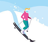 woman practicing ice skiing sport extreme
