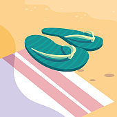 summer flip flops over towel design