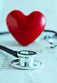 Heart, stethoscope and EKG