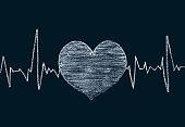 Heart shape on chalkboard