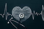 Stethoscope and heart shape on chalkboard