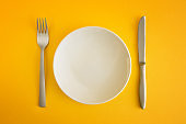 Empty platter on yellow background
