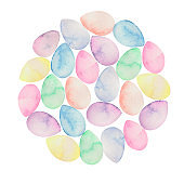 Watercolor background made of colorful Easter eggs