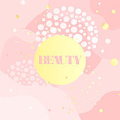 Pink square banner with graphic elements and inscription Beauty.