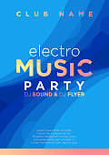 Vertical electro music party background with graphic elements and text.
