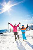 Happy kids on a ski trip