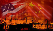 USA and China trade war economy conflict tax business finance money / United States raised taxes on imports of goods from China on industry