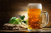 Mug of beer with green hops and wheat ears
