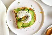Poached eggs on toasted bread with avocado