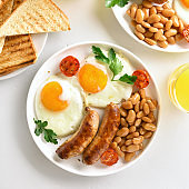 Breakfast with fried eggs, sausages, beans, tomatoes, greens