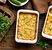 Potato gratin in baking dish
