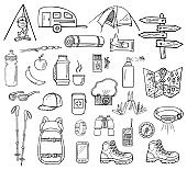 Hand-drawn camping vector icons