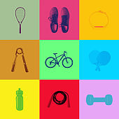Sport and fitness icons on pop art duotone background in vector