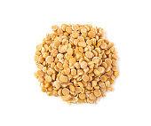 Top view of yellow split pea seeds