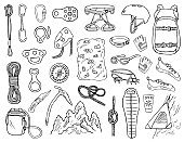 Hand-drawn climbing icons vector illustration