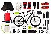 Flat lay of bicycle equipment and accessories isolated