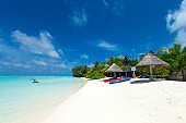 Maldives island with white sandy beach and sea