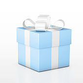 Blue square gift box tied with white ribbon with bow isolated on white background.