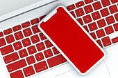 3D Abstract Smart Phone and Laptop, Minimal Technology Concept, Christmas Concept
