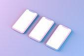 Smartphone Mobile Application Presentation Mockup Neon Colored