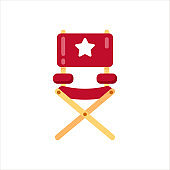 Film director chair icon isolated on white. Vector illustration