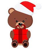 Isolated winter cute baby brown teddy bear toy in sitting pose with red gift and in Santa Claus red christmas hat with fur and pompom.