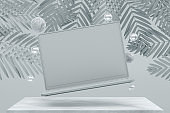 Blank screen laptop with Flying Spheres and Palm Leaves