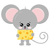 Cute mouse and cheese in paws vector illustration.