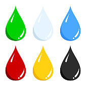 Vector set of blue water, green, light blue milk, red blood, yellow honey, black oil liquid drop icon isolated on white.