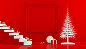 3D Minimal New Year, Christmas Concept in Red Living Room with Empty Frame