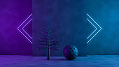 3D Christmas Tree and Ornaments with Neon Lights on Black Background