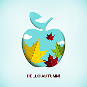 Hello autumn banner with apple and autumn leaves. Vector illustration. Space for text