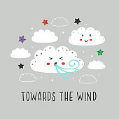 poster with cute cloud,wind and star