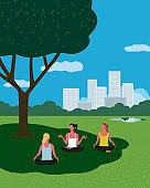 Yoga exercising in city garden flat color vector