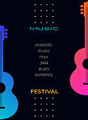 Acoustic guitar silhouette poster