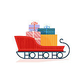 Christmas sleigh with gifts flat color vector icon